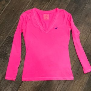 Hollister - hot pink long sleeve shirt